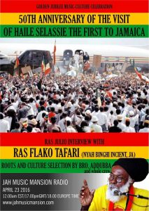 Iyahbingi radio show | Jubilee Ilebration for Haile Selassie visit to Jamaica 21st April 1966 – 2016
